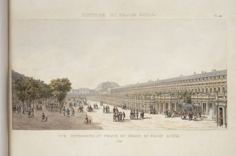 Vue exterieure du cirque du jardin du Palais-Royal