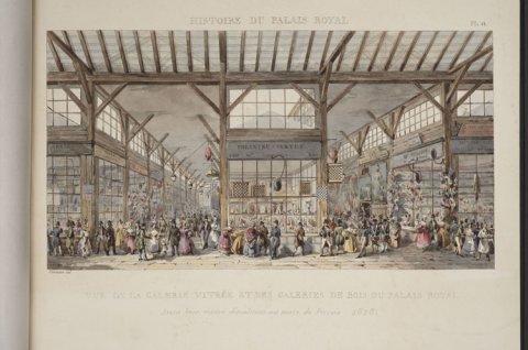 Vue de la galerie vitrée et des galeries de bois du Palais-Royal